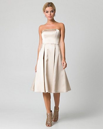 Satin Sweetheart Midi Cocktail Dress