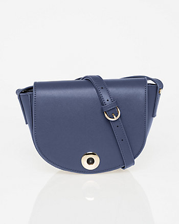 Saffiano Faux Leather Saddle Bag