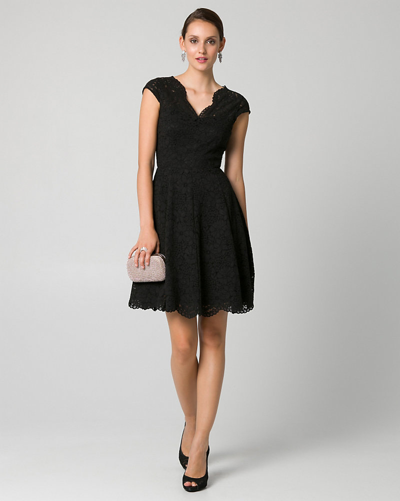 Christmas dress edmonton - Corded Lace V Neck Cocktail Dress