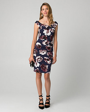 Floral Print Knit Crêpe Cocktail Dress