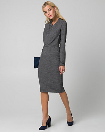 Cut & Sew Knit Cowl Neck Ruched Dress