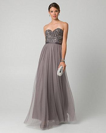 Jewel Embellished Mesh Sweetheart Gown