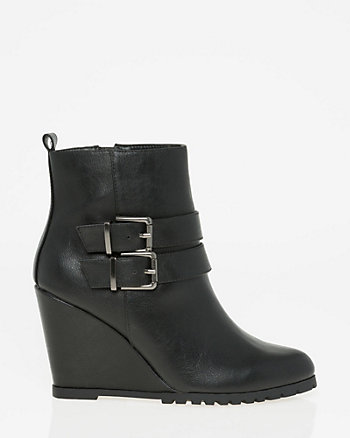 Faux Leather Almond Toe Ankle Boot