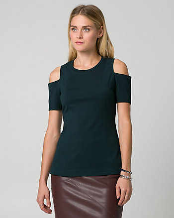 Ponte Cold Shoulder Top