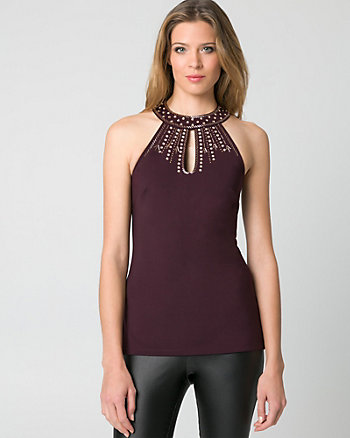 Beaded Scuba Knit Halter Top