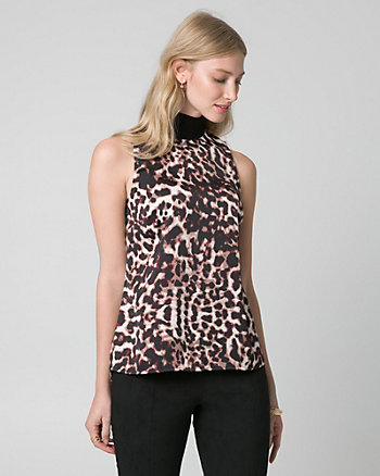 Leopard Print Satin Mock Neck Top