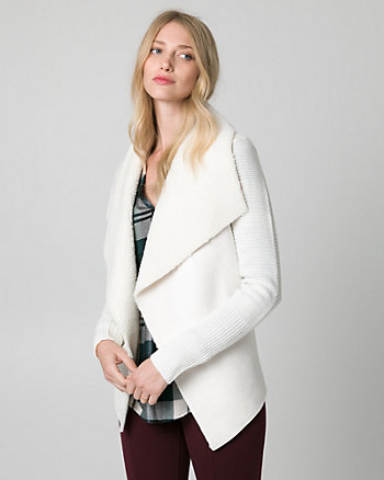 Faux Sherpa & Textured Knit Sweater Coat