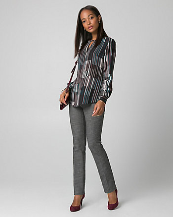 Stripe Crêpe de Chine Crew Neck Blouse