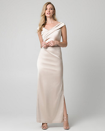 Satin Off-the-Shoulder Pleated Gown