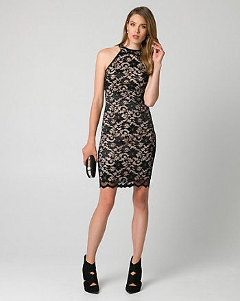 Stretch Lace Halter Cocktail Dress
