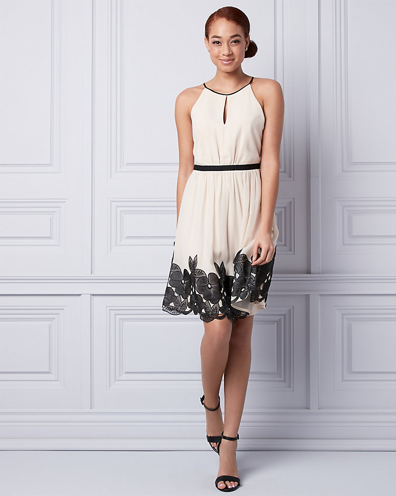 5b0864f28886 Embroidered Chiffon Halter Dress
