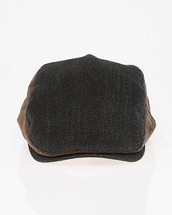 Wool Twill & Suede-Like Ivy Cap