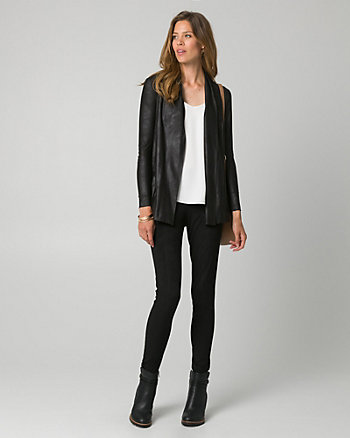 Leather-Like Open-Front Cardigan