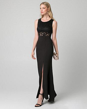 Crêpe & Lace Back Cutout Gown