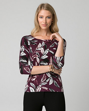 Leaf Print Viscose Blend Sweater