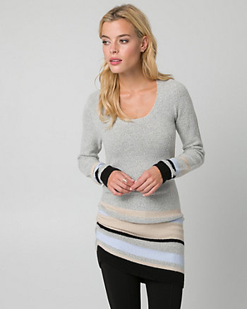 Stripe Bouclé Asymmetrical Tunic Sweater