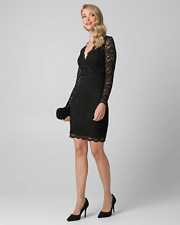 Lace V-Neck Mini Cocktail Dress