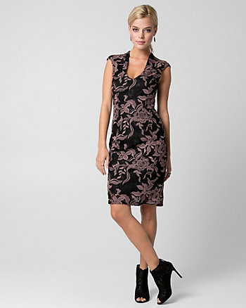 Embroidered Lace V-Neck Shift Dress