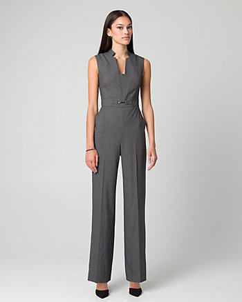Crosshatch Viscose Blend Wide Leg Jumpsuit