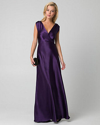 Satin V-Neck Gown