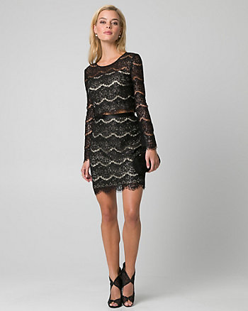Sequin & Lace Two-Piece Cocktail Dress
