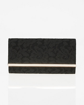 Lace & Suede-Like Flapover Clutch