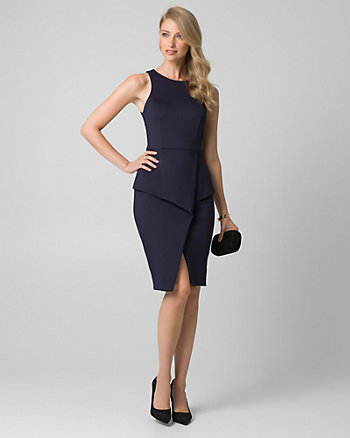 Scuba Knit Peplum Shift Dress
