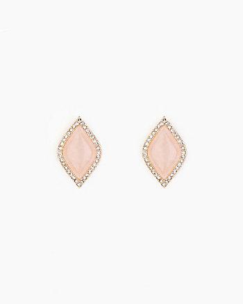 Cabochon Gem Stud Earrings