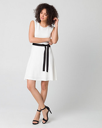 Textured Knit Crew Neck Belted Dress