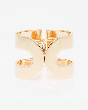 Metal Double Curve Hinge Cuff Bracelet