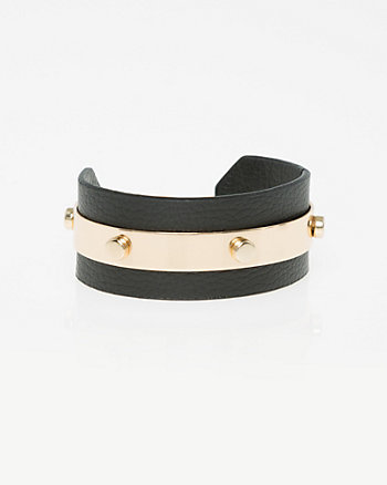 Leather-Like Open Cuff Bracelet