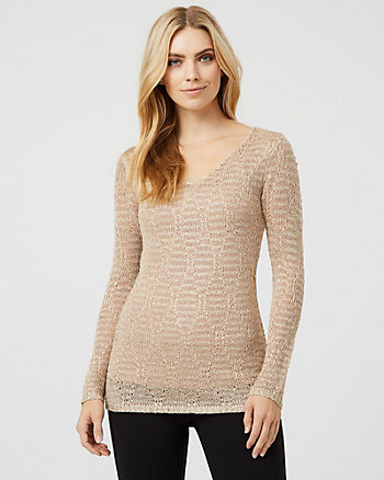 Sequin & Metallic Knit V-Neck Sweater