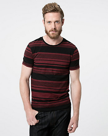Stripe Slub Crew Neck Tee