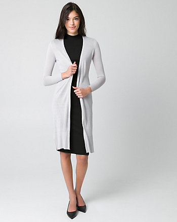 Viscose Blend Open-Front Duster Cardigan
