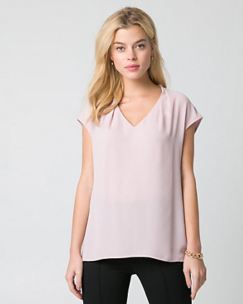 Crêpe de Chine Built-Up Neckline Top