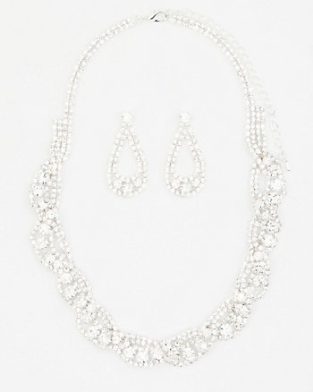 Gem Earrings and Necklace Set