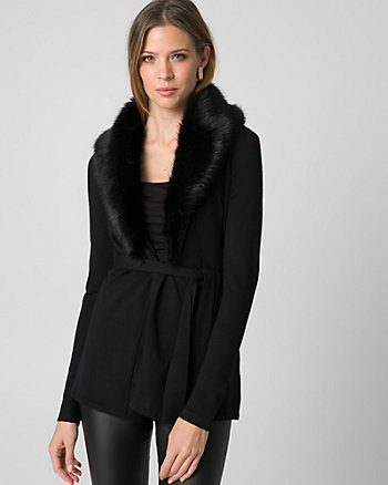 Faux Fur & Viscose Blend Coatigan