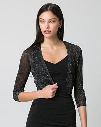 Metallic Knit Open-Front Shrug