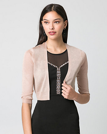 Metallic Knit Open-Front Shrug