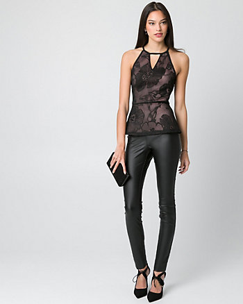 Embroidered Mesh Peplum Blouse