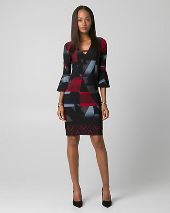 Geo Print Knit V-Neck Tunic Dress