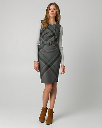 Check Print Viscose Blend Belted Shirtdress