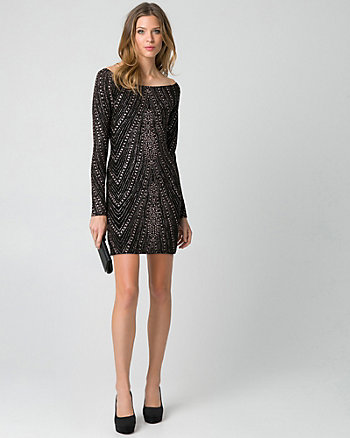 Sparkle Knit Off-the-Shoulder Mini Dress