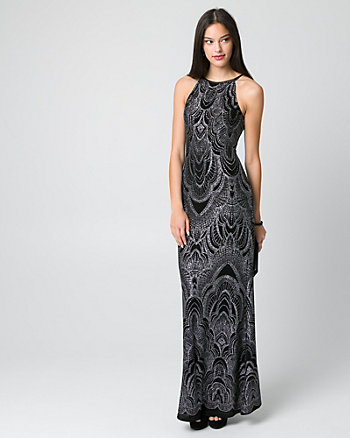Sparkle Knit Halter Gown