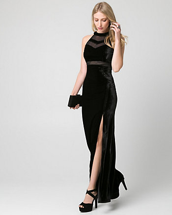 Velvet & Mesh Illusion Gown