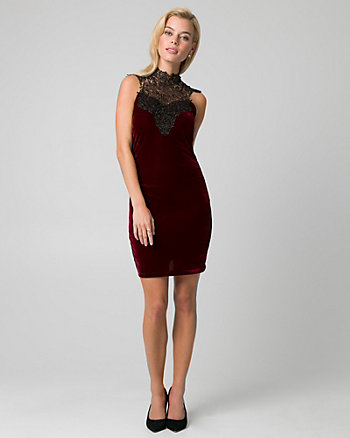 Crochet & Velvet Illusion Dress
