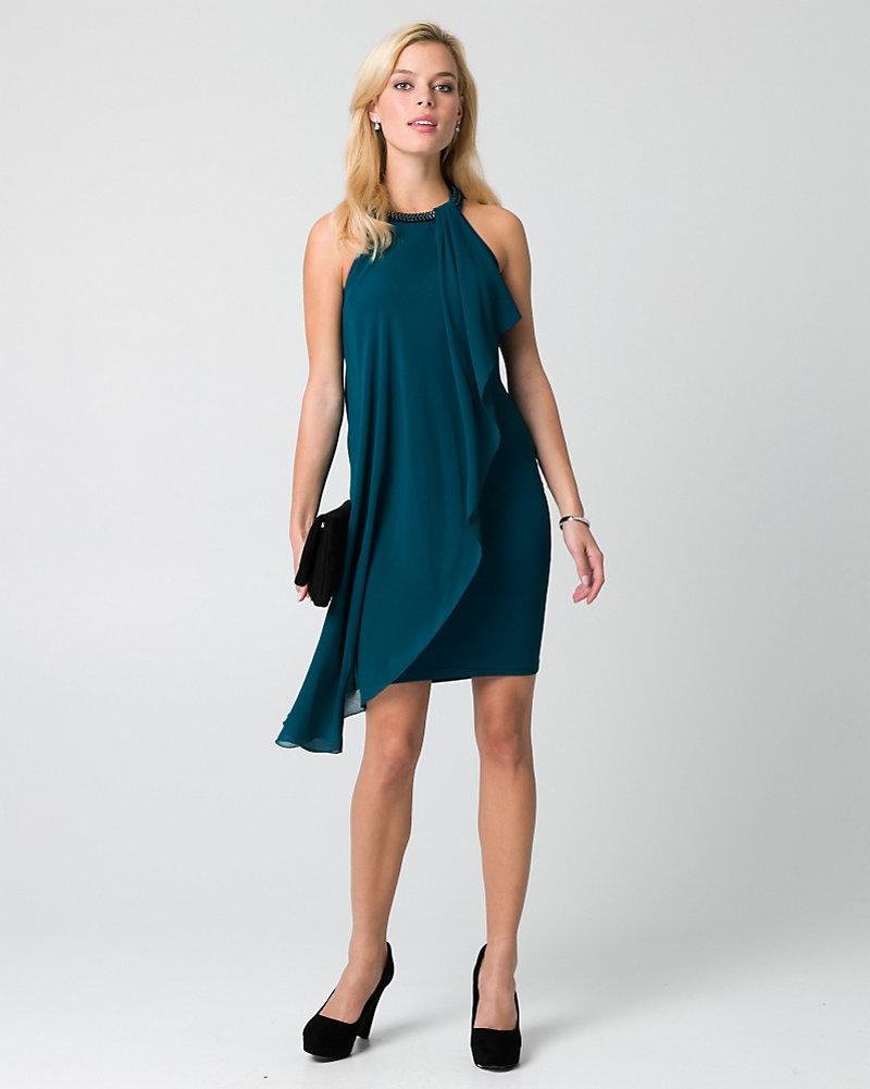 d9809cc15f Chiffon   Ponte Halter Cocktail Dress