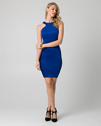 Scuba Knit Halter Cocktail Dress
