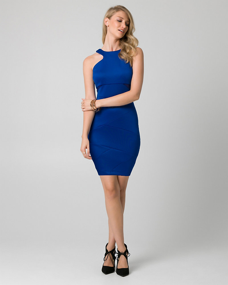 1dbb01e27b9 Scuba Knit Halter Cocktail Dress