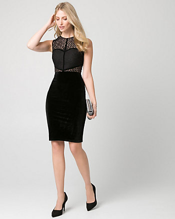 Lace & Velvet Illusion Shift Dress